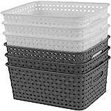 Idomy 6-Pack Plastic Storage Baskets/Bins, Rectangle