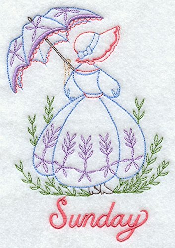 Embroidered Flour Sack Towels Days of the Week Umbrella Sunbonnet Lady Sue Designs Set of 7 by Sierra Mountain Embroidery