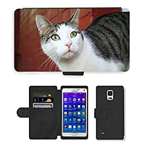 Hot Style Cell Phone Card Slot PU Leather Wallet Case // M00113873 Cat Wall Animals Hangover // Samsung Galaxy Note 4 IV