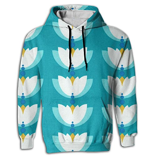 Yoizora Turquoise Lotus Men's Printed Designs Hoodie Sweat Shirt Fashion Sweater For Juniors Gym Pullover Hoodie Pocket In Front With Hat by Yoizora
