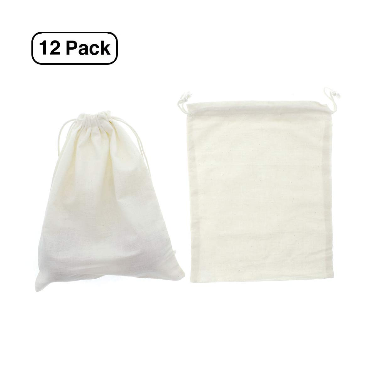 Linen and Bags 8'' x 12'' Natural Cotton High Quality Drawstring Bags Zero Waste Produce Bags 12 Pack