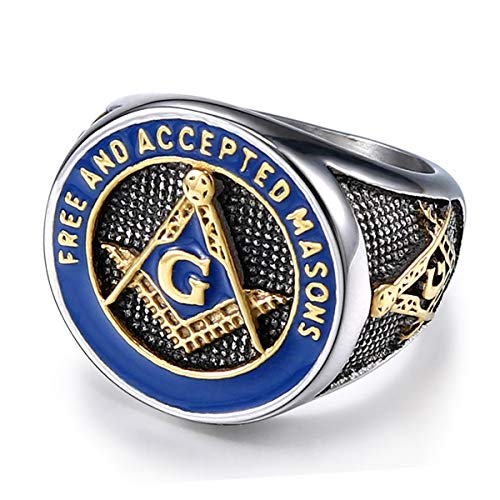 TIANYI Free and Accepted Masons Ring Stainless...
