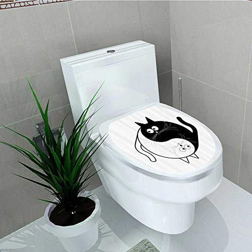 Printsonne Toilet Seat Wall Stickers Paper Cute Cats Cuddle Hugging Unity Ying Yang Sign Carto Animals Asian Feng Shui Decals DIY Decoration W8 x L11