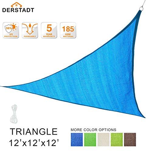 Derstadt 12' x 12' x 12' Triangle Sun Shade Sail 98%+ UV Block Top Quality Outdoor Patio Canopy Backyard 90+ UV Block Shelter (5 Years Warranty, 185GSM HDPE, 24.6' PE Rope) (Blue)