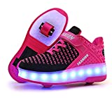 laideqi USB Charging LED Roller Skate Shoes Light Up Glowing Flashing Sneakers for Kids(Pink 2 Wheels 28 M EU/11.5 M US Little Kid)