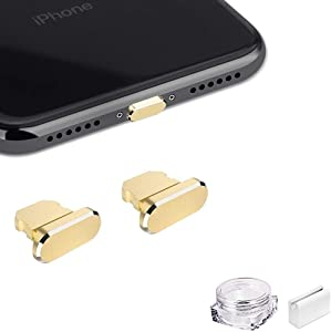 VIWIEU Metal Anti Dust Plug for iPhone 12 Mini Pro Max 11 iPad AirPods, 2 Aluminum Lightning Charging Port Cover Compatible with iPhone X, XS, XR, 8, 7, 6 Plus with Plug Holder and Storage Box (Gold)