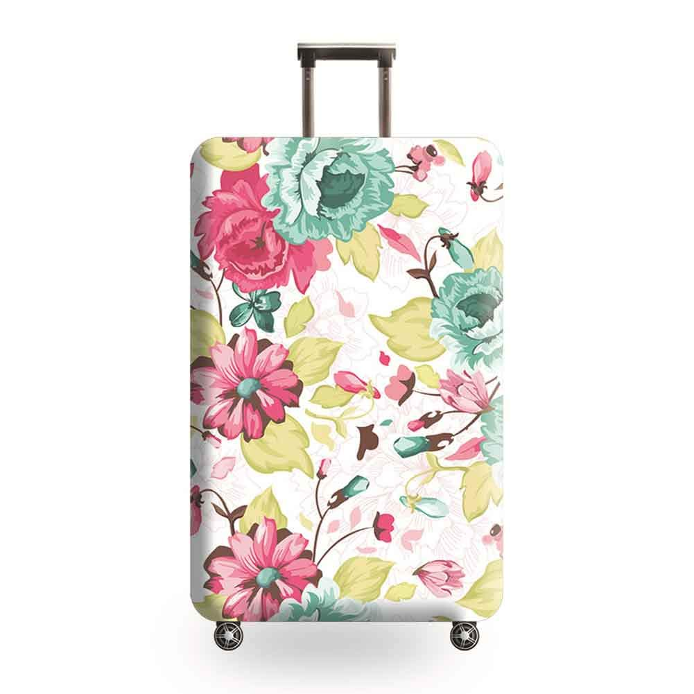 HBWZ Oil Painting Print Design Elasticated Suitcase Luggage Cover Suitable for 18-32in Luggage Travel Trolley Case,Smallflower,S