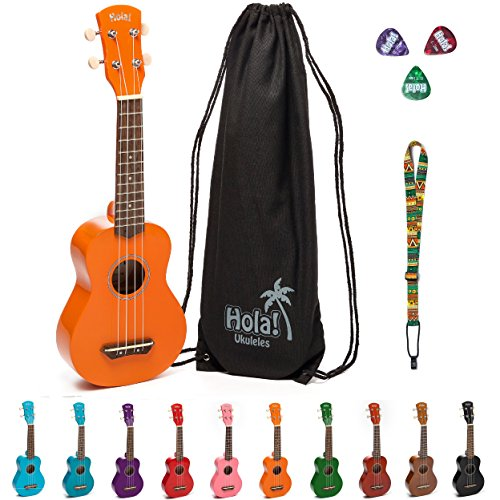 Hola! Music HM-21OR Soprano Ukulele Bundle with Canvas Tote Bag, Strap and Picks, Color Series - Orange Case Maple Fingerboard