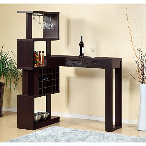 Benzara BM141912 Designed Bar Table with Wall Unit with Wine Racks, Brown