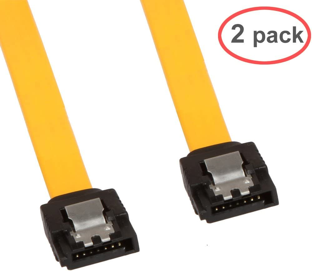 LINESO 2Pack 90 Degree Right-Angle SATA III Cable 6.0 Gbps with Locking Latch 32Inch Yellow