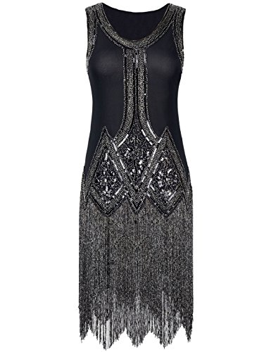 PrettyGuide Women's 1920s Vintage Beaded Fringed Inspired Black Flapper Dress M Black (Great Gatsby Dresses)