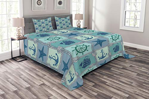 Ambesonne Ships Wheel Bedspread, Nautical Patchwork Pattern with Rope Starfish Sailing Ship Anchor and Wheel, Decorative Quilted 3 Piece Coverlet Set with 2 Pillow Shams, Queen Size, Turquoise (Nautical Quilt Patchwork)