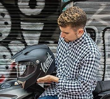 Westt Cross Casco De Moto Motocross Integral con Doble Visera Certificado ECE Motocicleta Scooter Unisex Negro Mate