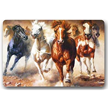 Native American Indians Horses Large Doormat Neoprene Backing Non Slip  Outdoor Indoor Bathroom Kitchen Decor Rug