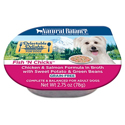 Natural Balance Delectable Delights Wet Dog Food Cups, Fish 'N Chicks Chicken Salmon Formula Broth With Sweet Potato Green Beans, 2.75 Oz (Pack Of 24)