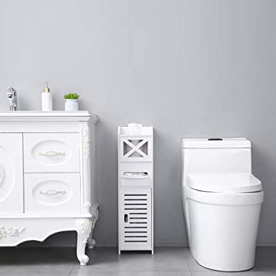 Buy Small Bathroom Storage Corner Floor Cabinet With Doors And Shelves Thin Toilet Vanity Cabinet Narrow Bath Sink Organizer Towel Storage Shelf For Paper Holder White Online In Germany B08zmvh928