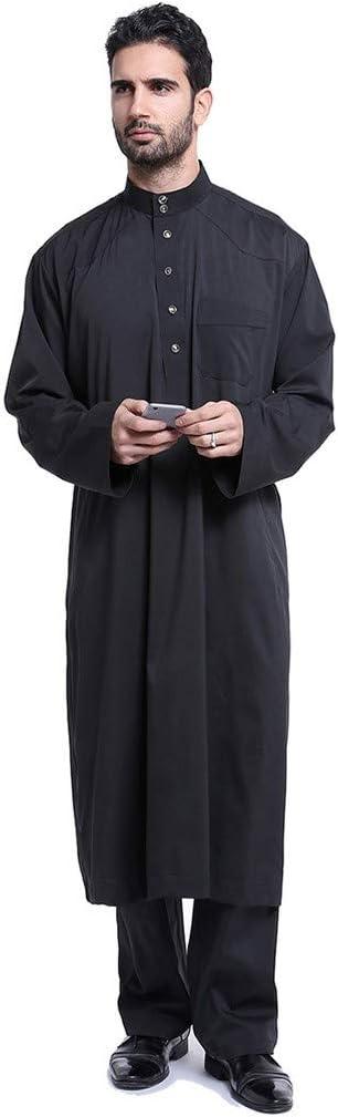 Coolred-Men 2-Piece Stand-up Collar Muslim Long Sleeve Shirt Blouse Tops