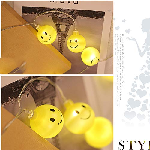 Glumes Decorative Smiley Face Lights, Easter Fairy String Lights Warm Yellow Battery Operated 1.2M(3.9ft) 10 LEDs for Indoor Outdoor Gardens,Home,Bedroom,Wedding,Xmas Birthday Party by Glumes (Image #2)