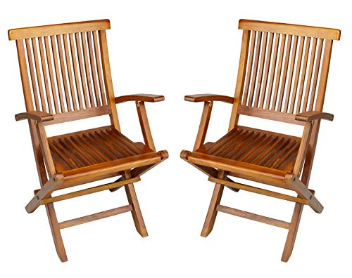 Teak Folding Arm Chair, 2 Piece Set, Fully Assembled, The Millennium