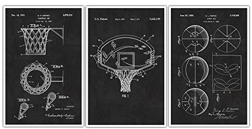 Basketball Patent Prints Set of 3 - Basketball Poster - Basketball Print - Basketball Sports Gift - Hoop - Ball Rim - Basketball Wall - Art Hoop