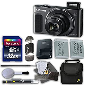Canon PowerShot SX620 HS Digital Camera (Black) with 32GB High Speed Memory Card & Extra Battery + Accessory Bundle (12 Items)