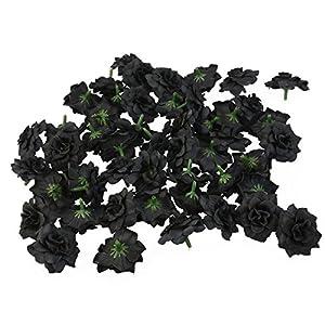 Tinksky 50pcs Silk Rose Flower Heads for Hat Clothes Album Embellishment Decoration (Black) 2