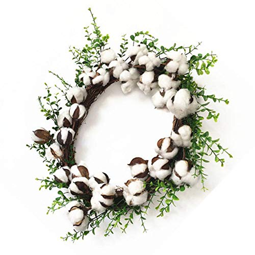 Artificial Dried Cotton Wreath Christmas Halloween Threshold Garland Decoration Wreath for Front Door Wall Home Wedding Decoration Circular
