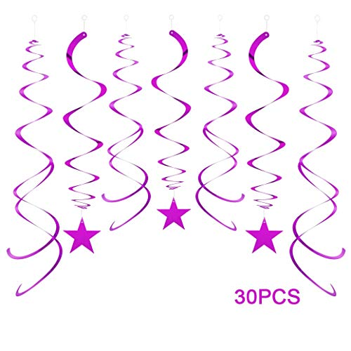 AimtoHome Party Swirl Decorations, Hanging Swirl Ceiling Decorations, Purple Star, Pack of 30 -