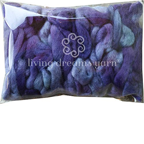 Wool Roving Hand Dyed. Super Soft BFL Combed Top Pre-Drafted for Easy Hand Spinning. Artisanal Craft Fiber ideal for Felting, Weaving, Wall Hangings and Embellishments. 1 Ounce. Violet Purple