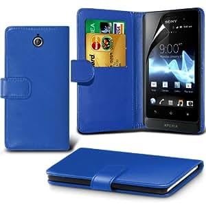 (Azul) Sony Xperia S puede diseñado tarjeta protectora de imitación de Crédito / Débito cuero del estilo del libro de la carpeta del caso de la piel cubierta y la pantalla del LCD Protector Por Spyrox