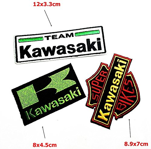 Set MOTORCYCLES0365 Kawasaki Motorbike Motorsport Motorcycles Biker Racing Patch Sew Iron on Logo Embroidered Badge Sign Emblem Costume BY -