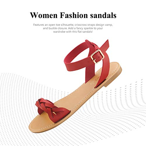 DREAM PAIRS Red Pu Summer Sandals for Women Casual Open Toes Ankle Straps Buckle Fashion Flat Sandals, Soft Faux Leather Braided One Band Comfortable Slingback Dress Cute Flat Shoes Size 5.5 M US