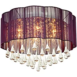 DINGGU Modern Purple Color Flush Mounted Ceiling Chandelier Lighting Pendant Lamp For Bedroom and Dining Room