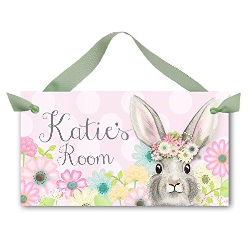 DOOR SIGN Bunny Rabbit Flower Garden Bedroom and Baby Nursery Kids Bedroom Wall Art DS0452 -