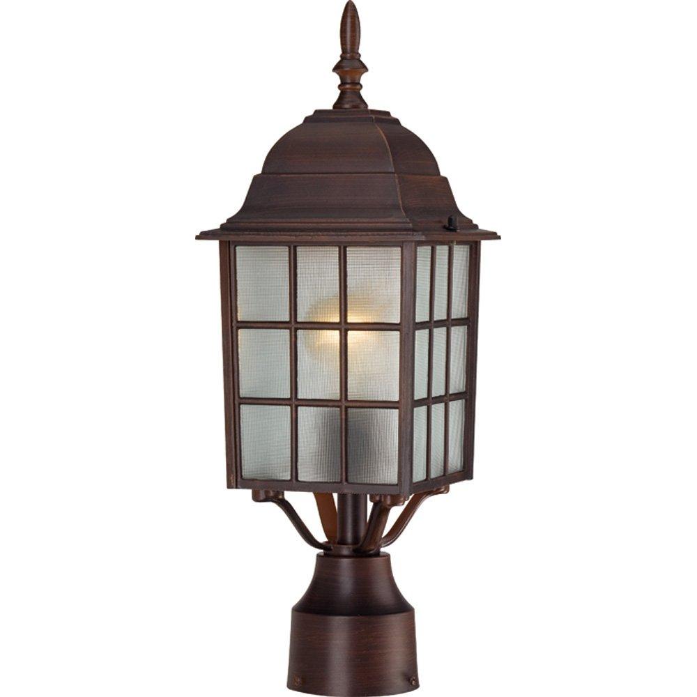 Nuvo Lighting 60/4908 Adams One Light Post Lantern 100 Watt A19 Max. Frosted Glass Rustic Bronze Outdoor Fixture