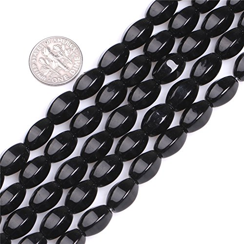 Sweet & Happy Girl's Gemstone Art Beads Faceted Oval Natural Black Agate Beads for Jewelry Making 15'' (8x12mm/Black)