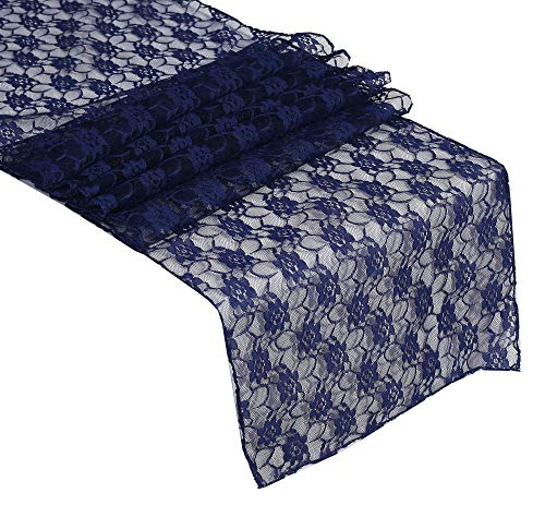 Lace Table Runners Wedding (mds Pack of 10 Wedding 12 x 108 inch Lace Table Runner for Wedding Banquet Decor Table Lace Runner- Navy)