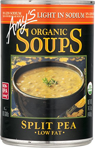 Fat Free Soup - Amy's Soups, Light in Sodium Organic Split Pea Soup, 14.1 Ounce