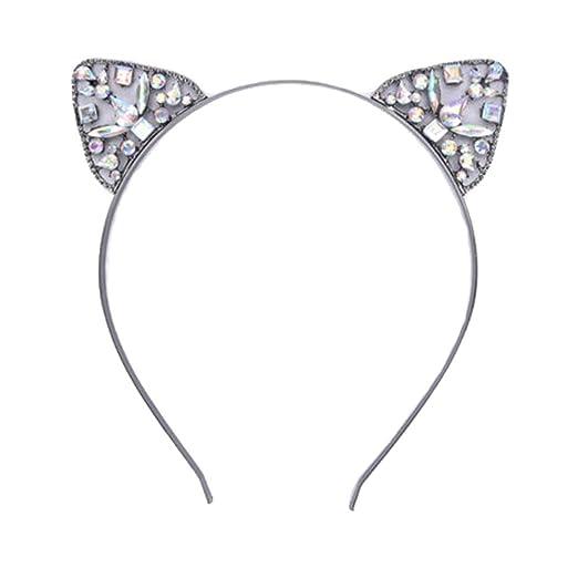 Dream Amy Kitty Cat Sequin Ear Headband Hair Band Fluffy Hair Hoop Headband  Party Daily Decoration A