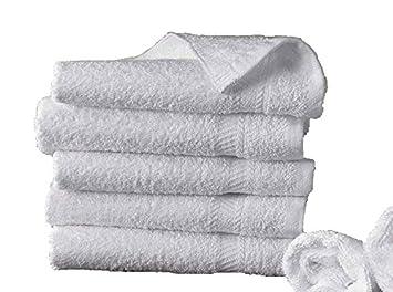 5 toallas de baño 50x100 cm 500gr / m² algodón egipcio del hotel BLANCO: Amazon.es: Hogar