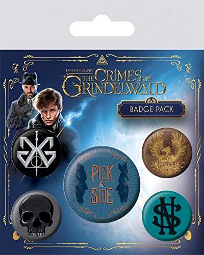 Les Animaux Fantastiques : Les Crimes De Grindelwald Paquet De Badges - 1 X 38mm & 4 X 25mm Badges (15 x 10 cm) 1art1®