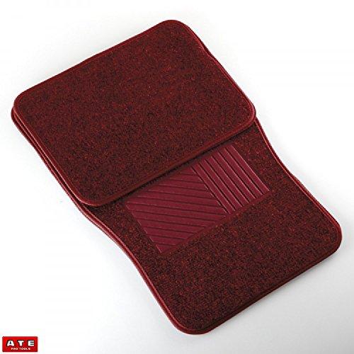 Car Floor Mats Carpeted 4 Piece Red Car Mat Set Universal (Carpeted 4 Piece Mat)