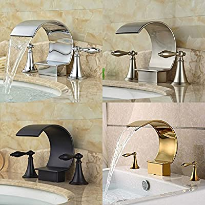Votamuta Brass Widespread Deck Mounted Bathroom Vessel Sink Faucets 3 Holes 2 Handles Basin Mixer Taps