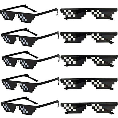 Wholesale Unisex Thug Life Party Sunglasses 8 Bits Style Pixel Mosaic MLG Photo Props Glasses(10 ()