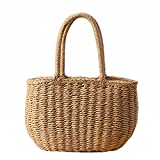 Andear Womens Casual Straw Woven Basket Handbag Summer Beach Vacation Tote Purse Bag Top Handle Bag 1-Brown