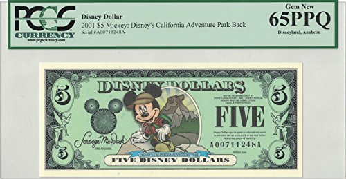 Disney Dollar 2001 A $5 Backpack Mickey A00711248A.PCGS 65 PPQ Gem - Pcgs Dollar
