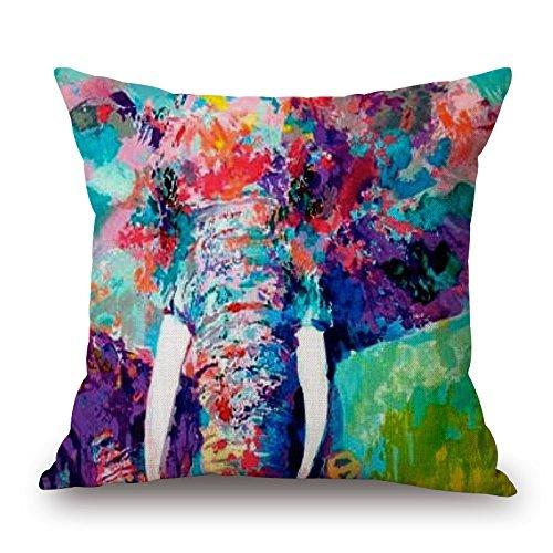 18 X 18 Inch Colorful Elephant Linen Cotton Decorative Throw Pillow Case Cushion - Linen Colorful