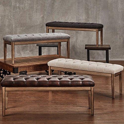 Benchwright Tufted Reclaimed 52-inch Beige Linen Upholstered Bench