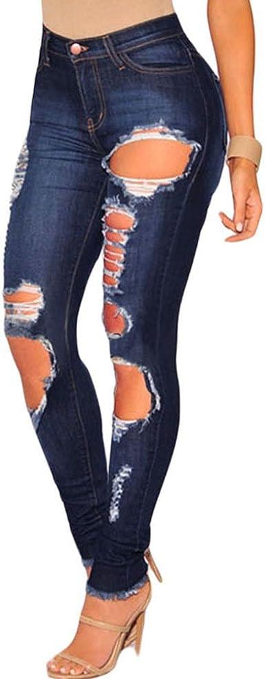 Tinksky Leggins Jeans Mujeres Pantalones Vaqueros Agujero Rotos Flacos Rasgados Con Las Rodillas Moda Amazon Es Ropa Y Accesorios