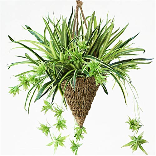 Lopkey Artificial Silk Orchid Bracketplant Spider Plant with Hanging Basket Outdoor Indoor Christmas Decor